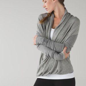 LULULEMON Grey Wee Stripe Knit Iconic Wrap 6